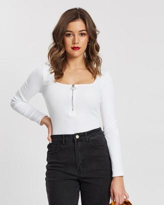 Missguided Petite Zip Front Long Sleeve Bodysuit