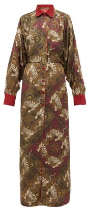 F.R.S For Restless Sleepers F.R.S – For Restless Sleepers Febo Belted Tiger-print Cloque Gown - Womens - Green Multi
