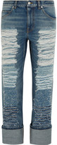 Alexander McQueen Distressed High-rise Straight-leg Jeans - Mid denim