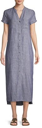 Pure Navy High-Low Linen Button-Front Dress