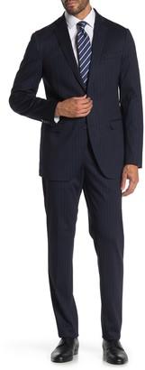Savile Row Co Navy Pinstripe Two Button Notch Lapel Knit Trim Fit Suit