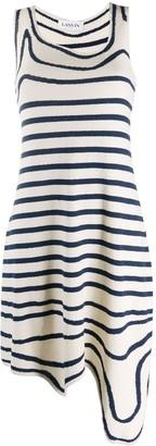Lanvin Striped Asymmetric Knitted Dress