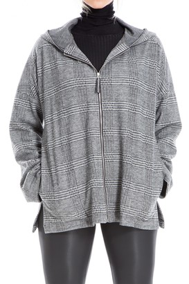 Max Studio Plaid Hooded Double Knit Zip Jacket