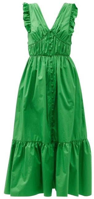Self-Portrait Ruffled V-neck Cotton-poplin Maxi Dress - Green
