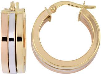 10k Italian Gold 10K Italian Gold Tri-Color Triple Hoop Earrings
