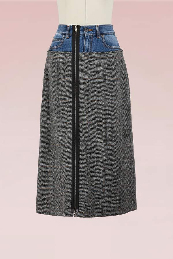 Maison Margiela Wool Skirt with Denim Belt