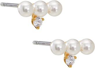 AJOA Imitation Pearl & Cubic Zirconia Stud Earrings