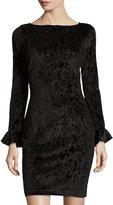 Neiman Marcus Burnout Velvet Floral Bodycon Dress, Black