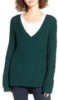 Women's Woven Heart Plunging V-Neck Pullover