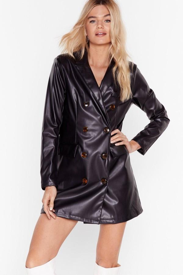 Nasty Gal Womens Ain't Faux Leather Going Back Blazer Dress - Black - 8