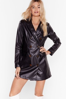 Nasty Gal Womens Ain't Faux Leather Going Back Blazer Dress - Black - 6