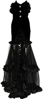 Alessandra Rich Strapless Organza Ruffle Gown