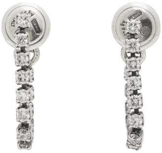 Bottega Veneta Silver Crystal Hoop Earrings