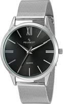 Peugeot Men's 'Mesh Roman Numeral' Quartz Stainless Steel Dress Watch, Color:Silver-Toned (Model: 1052SBK)