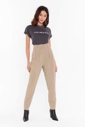 Nasty Gal Womens Take the Pleat Off High-Waisted Tapered Trousers - beige - 8