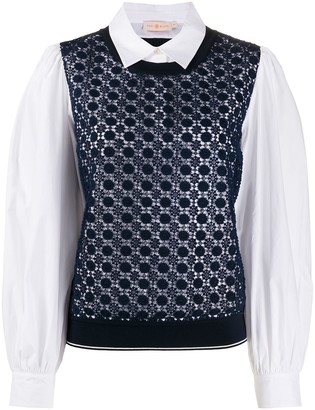 Tory Burch Crochet-Panelled Shirt