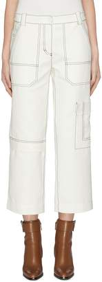 3.1 Phillip Lim Contrast top stitching twill cropped cargo pants