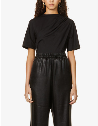 Sportmax Umbria pleated-panel cotton-jersey T-shirt
