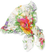 Balenciaga Ruffled Floral-print Silk-georgette Scarf