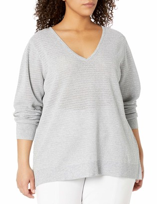 NYDJ Women's Plus Size Lurex Double V-Neck Sweater