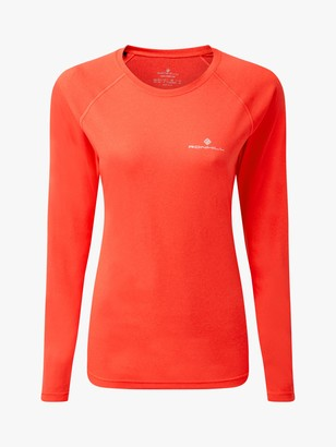 Ronhill Core Long Sleeve Running Top, Hot Coral