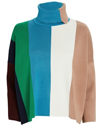 Victoria Victoria Beckham Colorblock Stripe Turtleneck Sweater