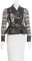 Alexander McQueen Leather & Tweed Moto Jacket