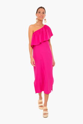 Pomander Place Hot Pink Florencia One Shoulder Dress