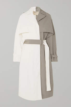 Givenchy Two-tone Linen And Cotton-blend Trench Coat - White