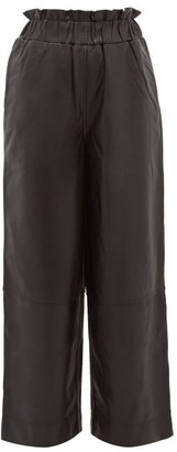Ganni Elasticated Waist Leather Wide Leg Trousers - Womens - Black