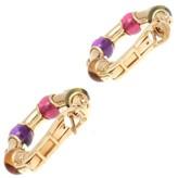Bulgari 18K Yellow Gold Gemstone Hoop Earrings