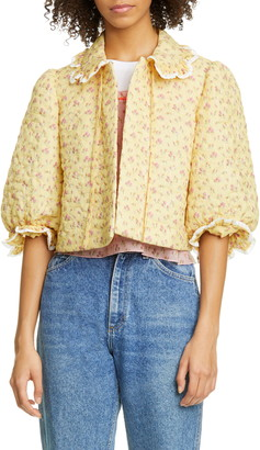 Anna Sui Butterfly Quilted Rosebuds Print Crop Jacket