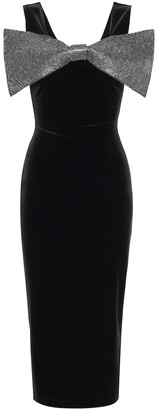 Christopher Kane Embellished stretch-velvet midi dress