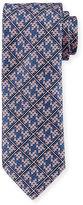 Brioni Plaid Diamond-Puzzle Silk Tie, Pink/Navy