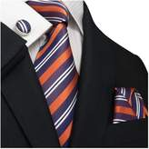 Landisun SILK Stripes Mens SILK Tie Set: Necktie+Hanky+Cufflinks