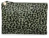 Clare Vivier Leopard Genuine Calf Hair Clutch - Green
