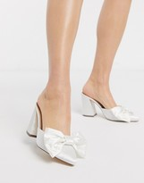 London Rebel bridal bow heeled mule in white