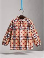 Burberry Ruffle Detail Polka-dot Check Cotton Top