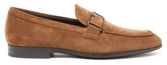 Tod's T-logo Suede Loafers - Mens - Brown