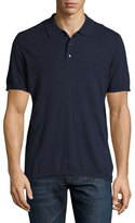 Robert Graham Cotton-Cashmere Diamond-Jacquard Polo Shirt, Navy