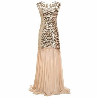 IMEKIS Women 1920s Flapper Dress Vintage Gatsby Sequin Beaded Fringe Dress Sleeveless V Back Wedding Bridesmaid Cocktail Formal Evening Party Long Dance Prom Ball Gown Gold UK 10