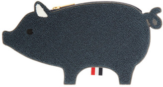 Thom Browne Navy Fluffy Pig Pouch