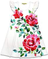 Millie Loves Lily Girls' Casual Dresses Luxury - White & Red Floral Angel-Sleeve A-Line Dress - Toddler & Girls