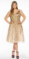 Mac Duggal Sequin Embellished V-back Plus Size Cocktail Dress
