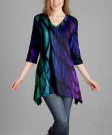 Lily Purple & Green Abstract V-Neck Tunic - Plus Too