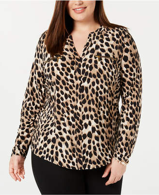INC International Concepts Inc Plus Size Animal-Print Top
