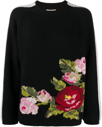 Semi-Couture Long-Sleeved Knitted Bouquet Jumper