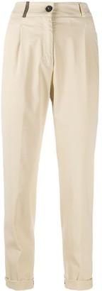 Peserico Leather Loop Crop Trousers