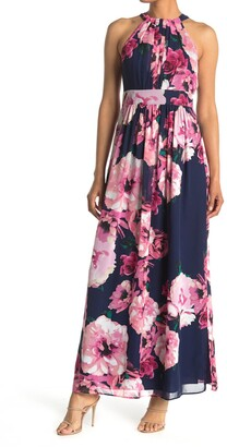 Eliza J Floral Printed Halter Maxi Dress