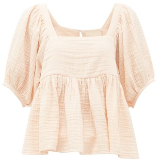 Anaak - Brigitte Peplum-hem Cotton-seersucker Top - Light Pink